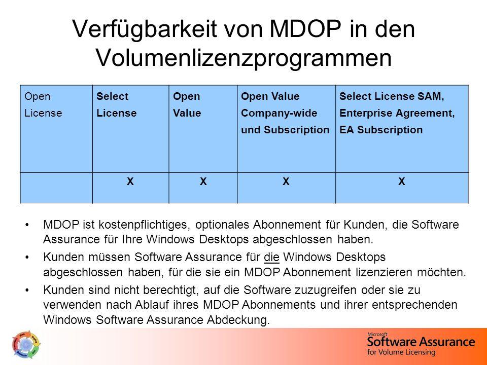 Verfügbarkeit von MDOP in den Volumenlizenzprogrammen MDOP ist kostenpflichtiges, optionales Abonnement für Kunden, die Software Assurance für Ihre Windows Desktops abgeschlossen haben.