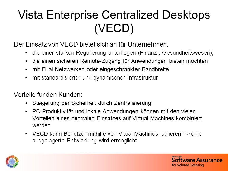 Vista Enterprise Centralized Desktops (VECD) Der Einsatz von VECD bietet sich an für Unternehmen: die einer starken Regulierung unterliegen (Finanz-, Gesundheitswesen), die einen sicheren Remote-Zugang für Anwendungen bieten möchten mit Filial-Netzwerken oder eingeschränkter Bandbreite mit standardisierter und dynamischer Infrastruktur Vorteile für den Kunden: Steigerung der Sicherheit durch Zentralisierung PC-Produktivität und lokale Anwendungen können mit den vielen Vorteilen eines zentralen Einsatzes auf Virtual Machines kombiniert werden VECD kann Benutzer mithilfe von Vitual Machines isolieren => eine ausgelagerte Entwicklung wird ermöglicht