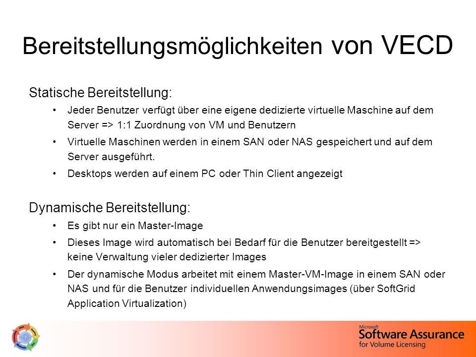 Bereitstellungsmöglichkeiten von VECD Statische Bereitstellung: Jeder Benutzer verfügt über eine eigene dedizierte virtuelle Maschine auf dem Server => 1:1 Zuordnung von VM und Benutzern Virtuelle Maschinen werden in einem SAN oder NAS gespeichert und auf dem Server ausgeführt.