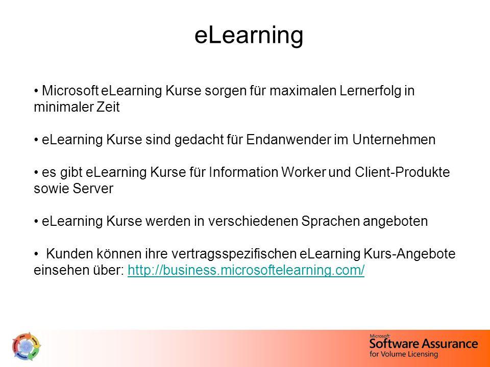 eLearning Microsoft eLearning Kurse sorgen für maximalen Lernerfolg in minimaler Zeit eLearning Kurse sind gedacht für Endanwender im Unternehmen es gibt eLearning Kurse für Information Worker und Client-Produkte sowie Server eLearning Kurse werden in verschiedenen Sprachen angeboten Kunden können ihre vertragsspezifischen eLearning Kurs-Angebote einsehen über: http://business.microsoftelearning.com/http://business.microsoftelearning.com/