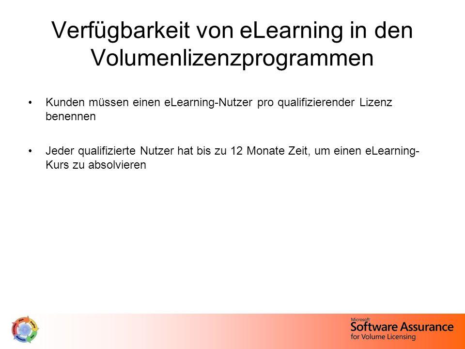 Kunden müssen einen eLearning-Nutzer pro qualifizierender Lizenz benennen Jeder qualifizierte Nutzer hat bis zu 12 Monate Zeit, um einen eLearning- Kurs zu absolvieren Verfügbarkeit von eLearning in den Volumenlizenzprogrammen