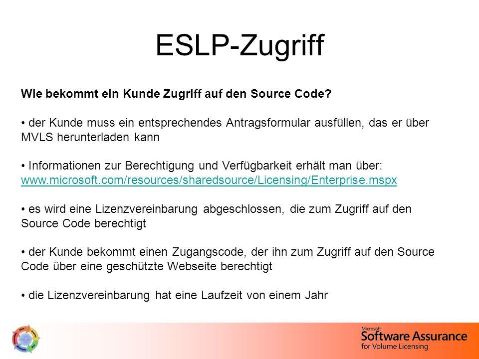 ESLP-Zugriff Wie bekommt ein Kunde Zugriff auf den Source Code.