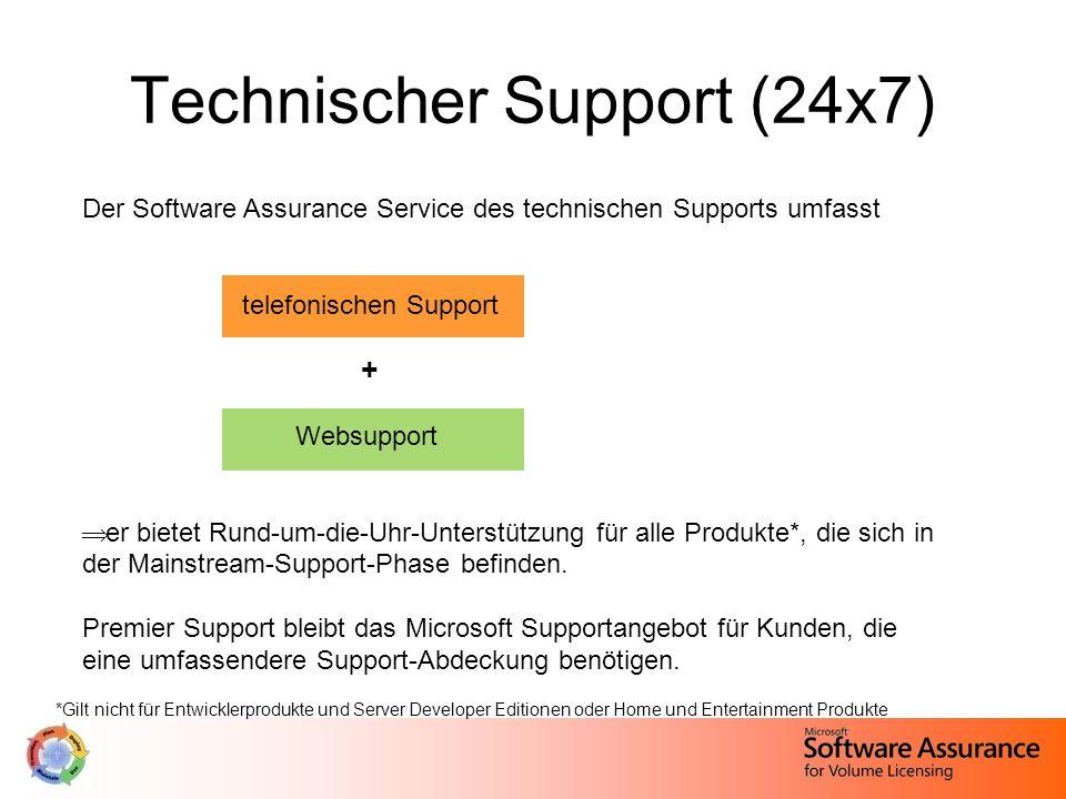 Technischer Support (24x7) Der Software Assurance Service des technischen Supports umfasst telefonischen Support + Websupport  er bietet Rund-um-die-Uhr-Unterstützung für alle Produkte*, die sich in der Mainstream-Support-Phase befinden.