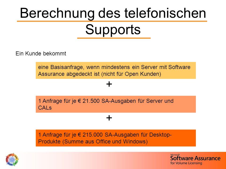 Berechnung des telefonischen Supports Ein Kunde bekommt eine Basisanfrage, wenn mindestens ein Server mit Software Assurance abgedeckt ist (nicht für Open Kunden) + 1 Anfrage für je € 21.500 SA-Ausgaben für Server und CALs + 1 Anfrage für je € 215.000 SA-Ausgaben für Desktop- Produkte (Summe aus Office und Windows)