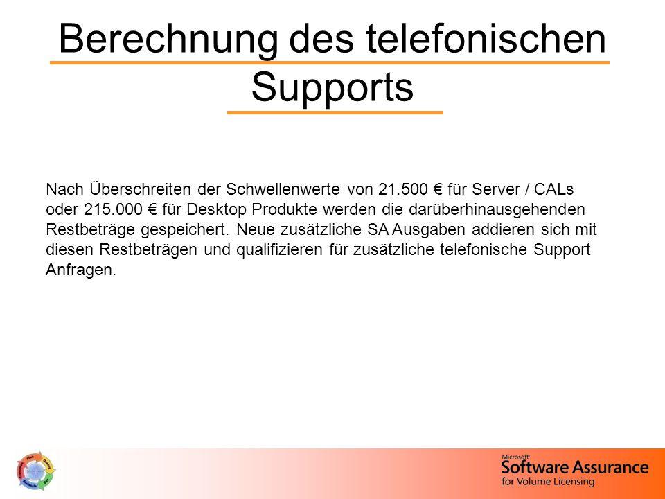 Berechnung des telefonischen Supports Nach Überschreiten der Schwellenwerte von 21.500 € für Server / CALs oder 215.000 € für Desktop Produkte werden die darüberhinausgehenden Restbeträge gespeichert.