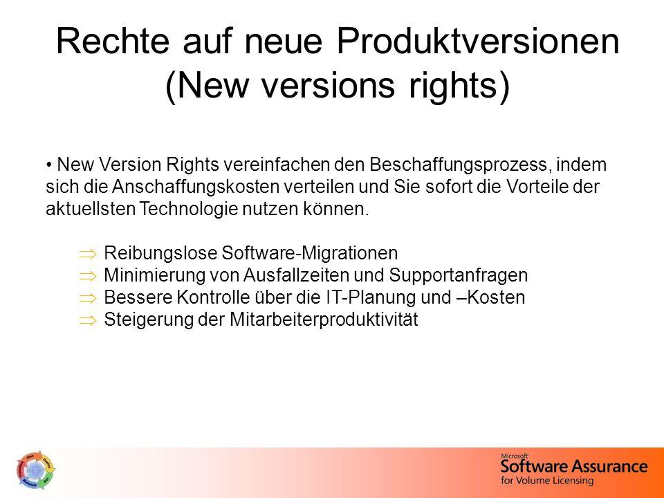 Rechte auf neue Produktversionen (New versions rights) New Version Rights vereinfachen den Beschaffungsprozess, indem sich die Anschaffungskosten verteilen und Sie sofort die Vorteile der aktuellsten Technologie nutzen können.