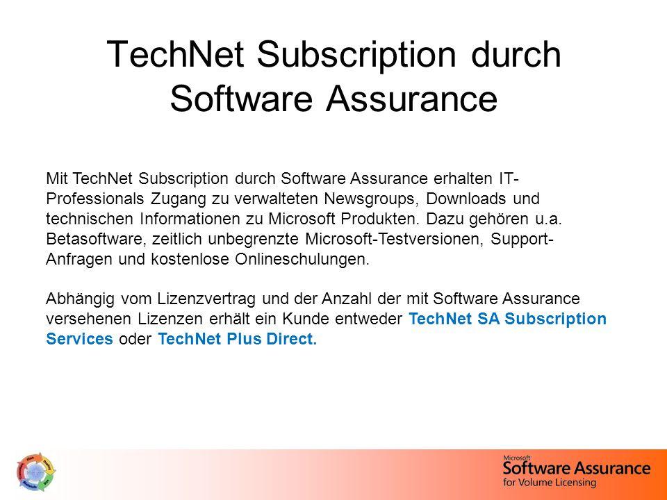 TechNet Subscription durch Software Assurance Mit TechNet Subscription durch Software Assurance erhalten IT- Professionals Zugang zu verwalteten Newsgroups, Downloads und technischen Informationen zu Microsoft Produkten.