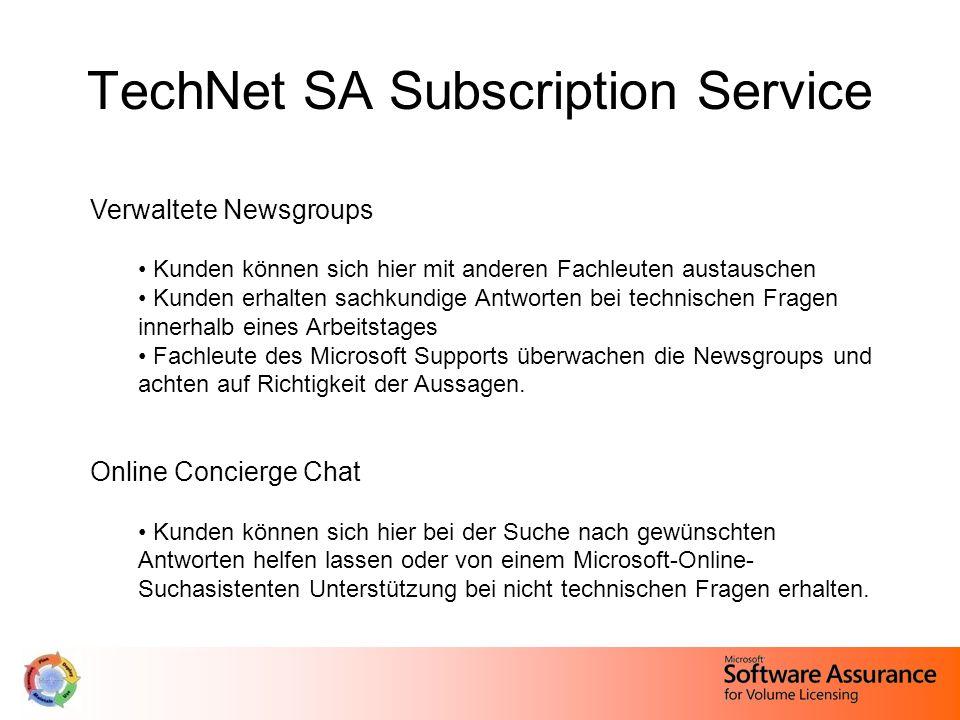 TechNet SA Subscription Service Verwaltete Newsgroups Kunden können sich hier mit anderen Fachleuten austauschen Kunden erhalten sachkundige Antworten bei technischen Fragen innerhalb eines Arbeitstages Fachleute des Microsoft Supports überwachen die Newsgroups und achten auf Richtigkeit der Aussagen.