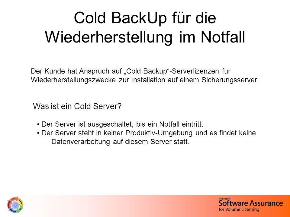 """Cold BackUp für die Wiederherstellung im Notfall Der Kunde hat Anspruch auf """"Cold Backup -Serverlizenzen für Wiederherstellungszwecke zur Installation auf einem Sicherungsserver."""