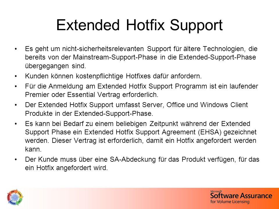 Extended Hotfix Support Es geht um nicht-sicherheitsrelevanten Support für ältere Technologien, die bereits von der Mainstream-Support-Phase in die Extended-Support-Phase übergegangen sind.