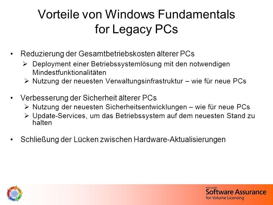 Vorteile von Windows Fundamentals for Legacy PCs Reduzierung der Gesamtbetriebskosten älterer PCs  Deployment einer Betriebssystemlösung mit den notwendigen Mindestfunktionalitäten  Nutzung der neuesten Verwaltungsinfrastruktur – wie für neue PCs Verbesserung der Sicherheit älterer PCs  Nutzung der neuesten Sicherheitsentwicklungen – wie für neue PCs  Update-Services, um das Betriebssystem auf dem neuesten Stand zu halten Schließung der Lücken zwischen Hardware-Aktualisierungen