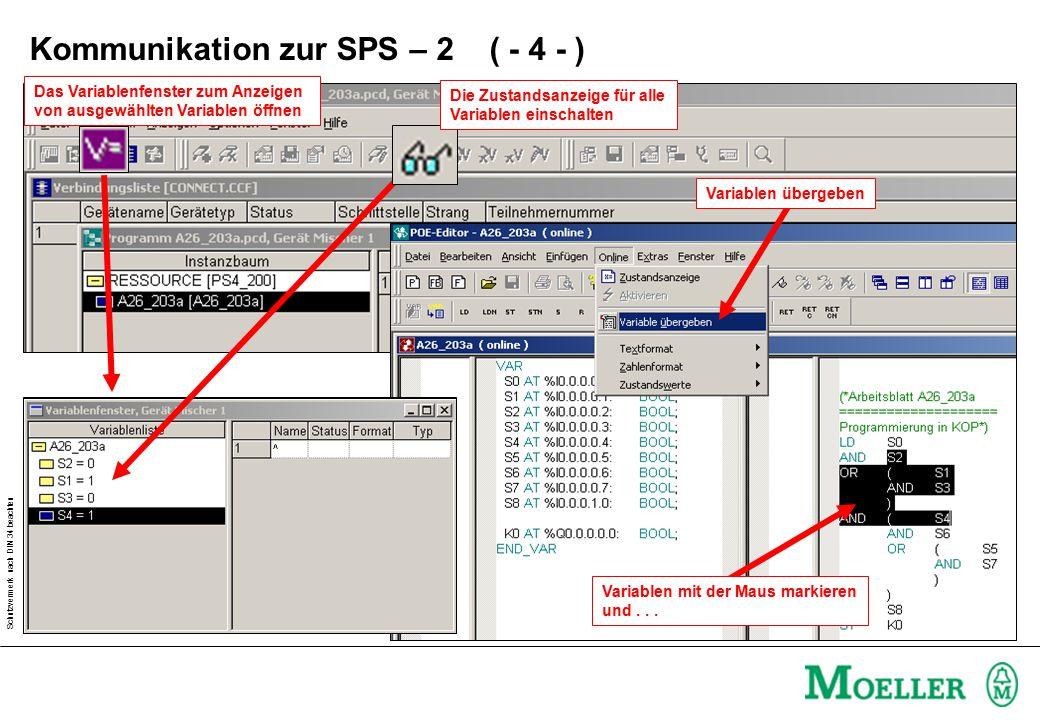 Schutzvermerk nach DIN 34 beachten Variablen übergebenDas Variablenfenster zum Anzeigen von ausgewählten Variablen öffnen Variablen mit der Maus markieren und...