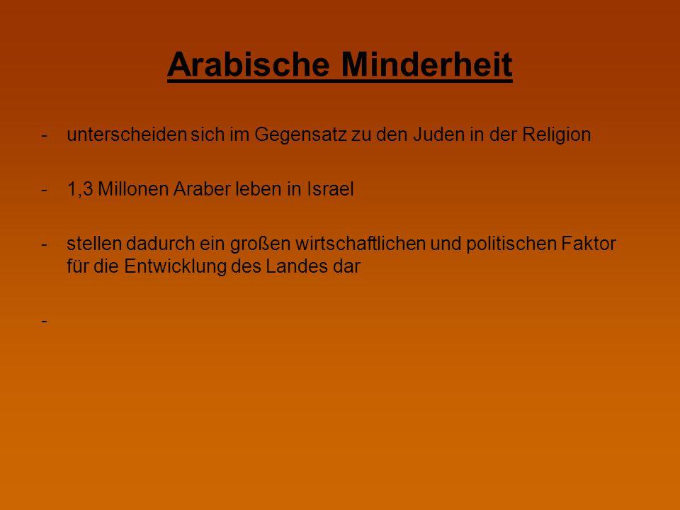 Arabische Minderheit -unterscheiden sich im Gegensatz zu den Juden in der Religion -1,3 Millonen Araber leben in Israel -stellen dadurch ein großen wi