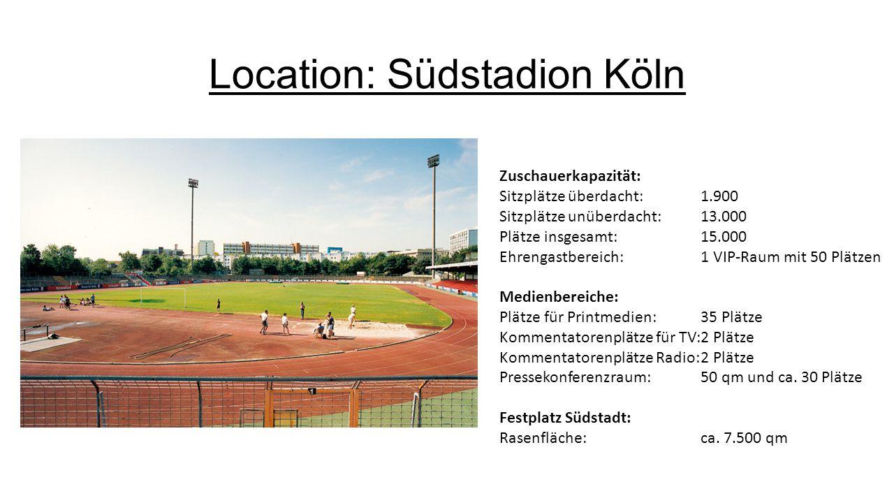 Location: Südstadion Köln Zuschauerkapazität: Sitzplätze überdacht:1.900 Sitzplätze unüberdacht:13.000 Plätze insgesamt:15.000 Ehrengastbereich:1 VIP-