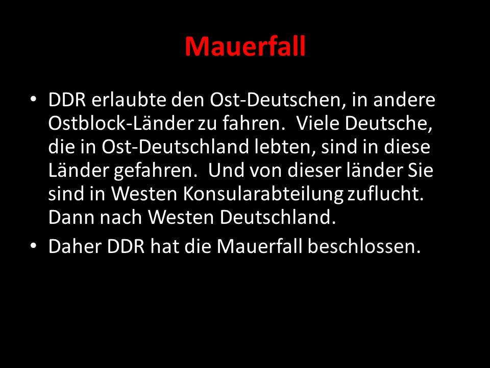 Mauerfall DDR erlaubte den Ost-Deutschen, in andere Ostblock-Länder zu fahren.