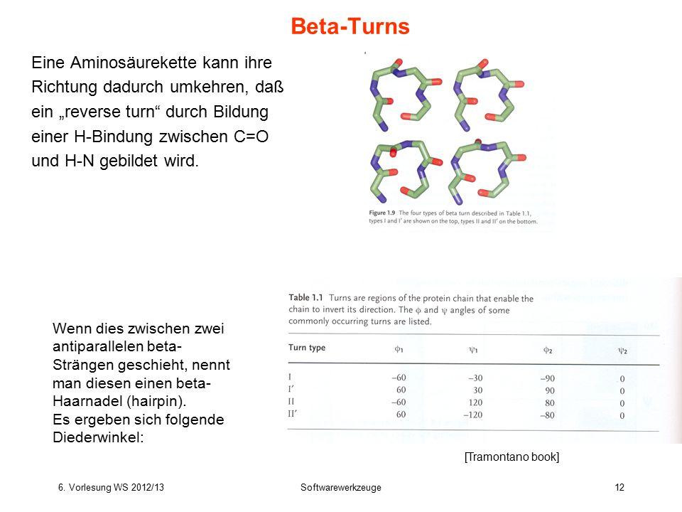 """6. Vorlesung WS 2012/13Softwarewerkzeuge12 Eine Aminosäurekette kann ihre Richtung dadurch umkehren, daß ein """"reverse turn"""" durch Bildung einer H-Bind"""