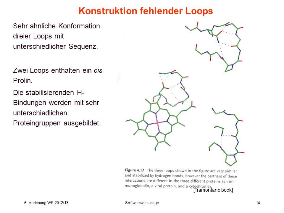 6. Vorlesung WS 2012/13Softwarewerkzeuge14 Sehr ähnliche Konformation dreier Loops mit unterschiedlicher Sequenz. Zwei Loops enthalten ein cis- Prolin