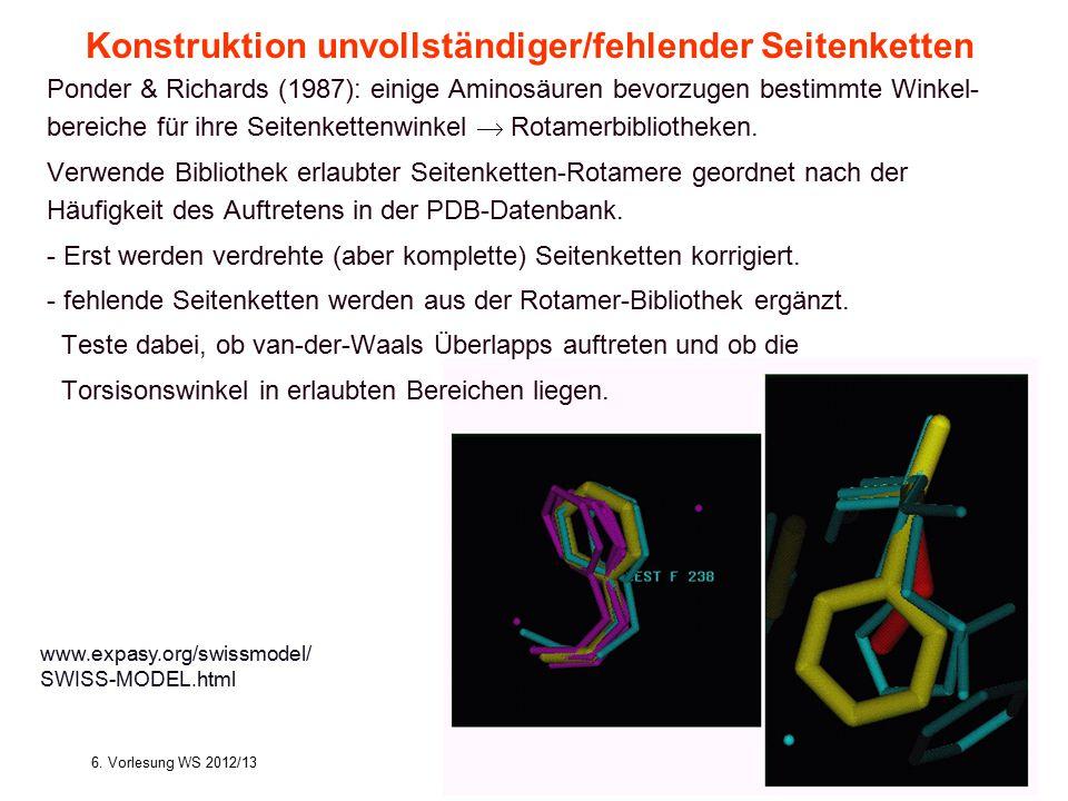 6. Vorlesung WS 2012/13Softwarewerkzeuge17 Ponder & Richards (1987): einige Aminosäuren bevorzugen bestimmte Winkel- bereiche für ihre Seitenkettenwin