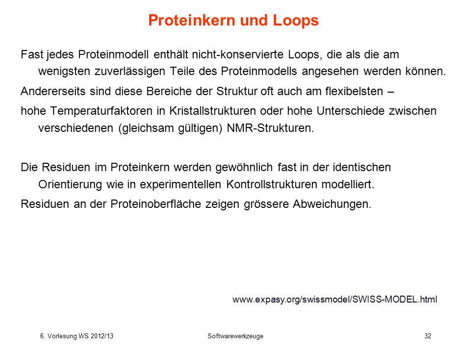 6. Vorlesung WS 2012/13Softwarewerkzeuge32 Proteinkern und Loops Fast jedes Proteinmodell enthält nicht-konservierte Loops, die als die am wenigsten z