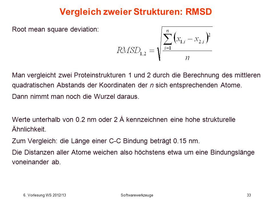 6. Vorlesung WS 2012/13Softwarewerkzeuge33 Vergleich zweier Strukturen: RMSD Root mean square deviation: Man vergleicht zwei Proteinstrukturen 1 und 2