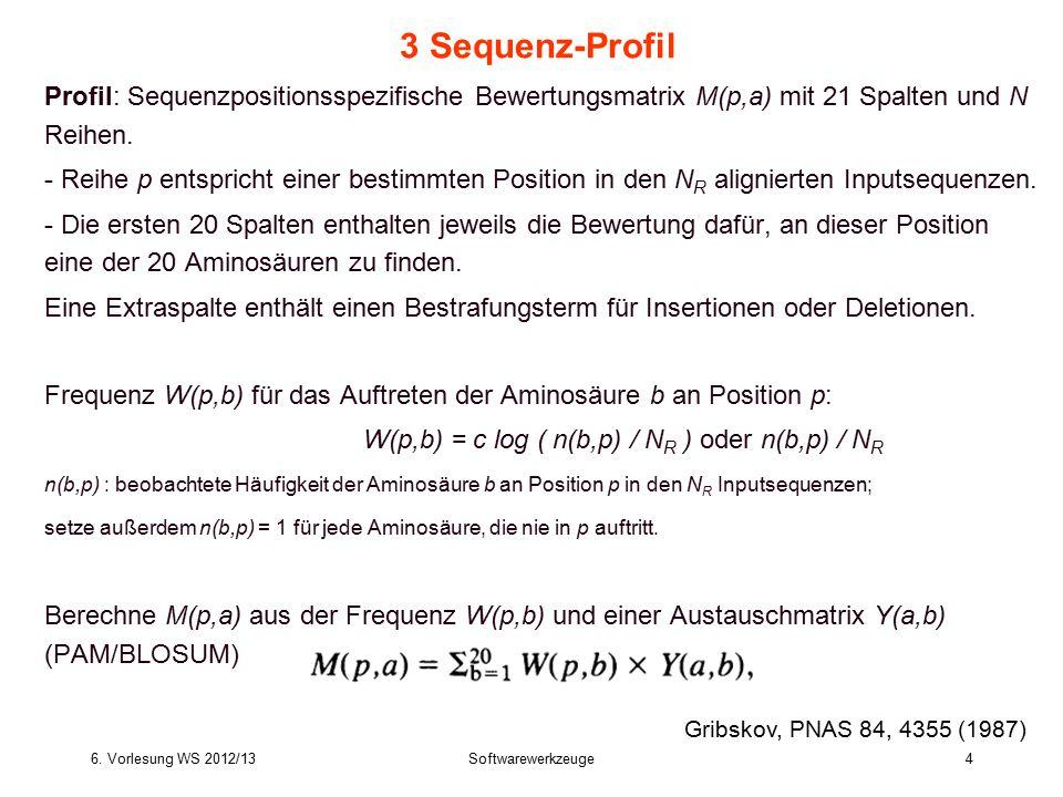 6. Vorlesung WS 2012/13Softwarewerkzeuge4 3 Sequenz-Profil Profil: Sequenzpositionsspezifische Bewertungsmatrix M(p,a) mit 21 Spalten und N Reihen. -