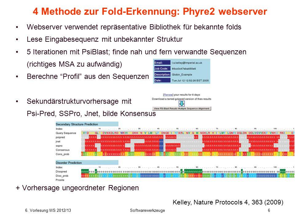 6. Vorlesung WS 2012/13Softwarewerkzeuge6 4 Methode zur Fold-Erkennung: Phyre2 webserver Webserver verwendet repräsentative Bibliothek für bekannte fo
