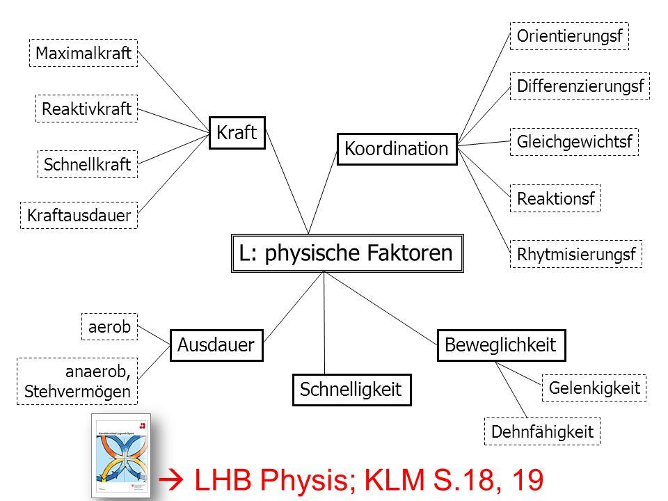 L: physische Faktoren Ausdauer Kraft Beweglichkeit Koordination Gelenkigkeit Dehnfähigkeit Orientierungsf Differenzierungsf Gleichgewichtsf Reaktionsf Rhytmisierungsf Maximalkraft Reaktivkraft Schnellkraft Kraftausdauer aerob anaerob, Stehvermögen Schnelligkeit  LHB Physis; KLM S.18, 19