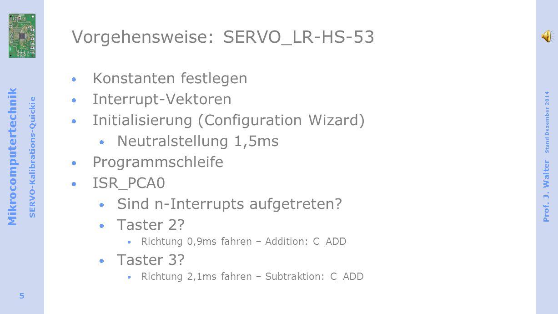 Mikrocomputertechnik SERVO-Kalibrations-Quickie Prof. J. Walter Stand Dezember 2014 5 Vorgehensweise: SERVO_LR-HS-53  Konstanten festlegen  Interrup