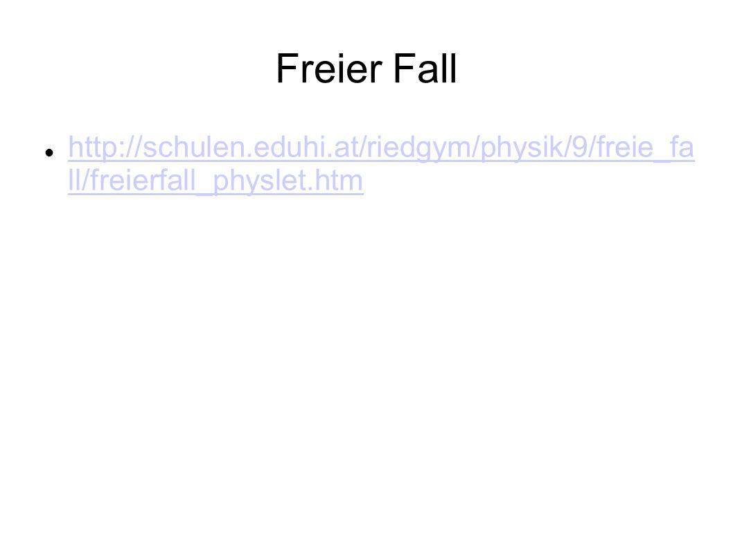 Freier Fall http://schulen.eduhi.at/riedgym/physik/9/freie_fa ll/freierfall_physlet.htm http://schulen.eduhi.at/riedgym/physik/9/freie_fa ll/freierfall_physlet.htm