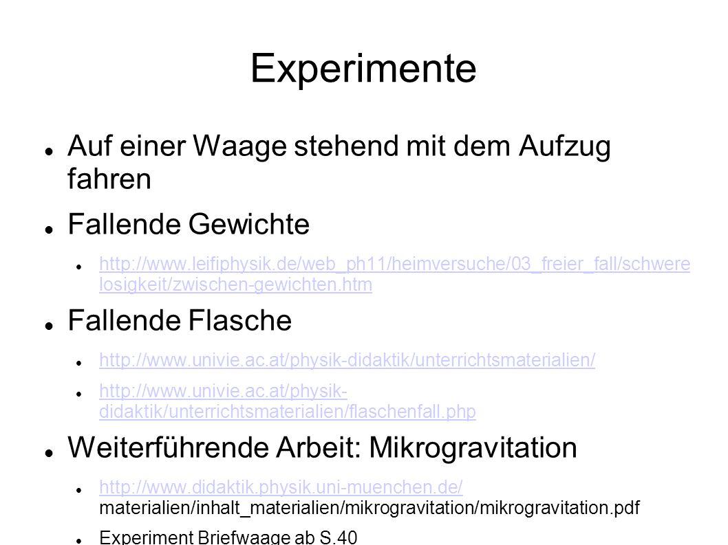 Experimente Auf einer Waage stehend mit dem Aufzug fahren Fallende Gewichte http://www.leifiphysik.de/web_ph11/heimversuche/03_freier_fall/schwere losigkeit/zwischen-gewichten.htm http://www.leifiphysik.de/web_ph11/heimversuche/03_freier_fall/schwere losigkeit/zwischen-gewichten.htm Fallende Flasche http://www.univie.ac.at/physik-didaktik/unterrichtsmaterialien/ http://www.univie.ac.at/physik- didaktik/unterrichtsmaterialien/flaschenfall.php http://www.univie.ac.at/physik- didaktik/unterrichtsmaterialien/flaschenfall.php Weiterführende Arbeit: Mikrogravitation http://www.didaktik.physik.uni-muenchen.de/ materialien/inhalt_materialien/mikrogravitation/mikrogravitation.pdf http://www.didaktik.physik.uni-muenchen.de/ Experiment Briefwaage ab S.40