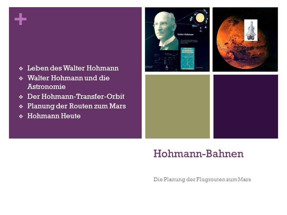 + Hohmann-Bahnen Die Planung der Flugrouten zum Mars  Leben des Walter Hohmann  Walter Hohmann und die Astronomie  Der Hohmann-Transfer-Orbit  Pla
