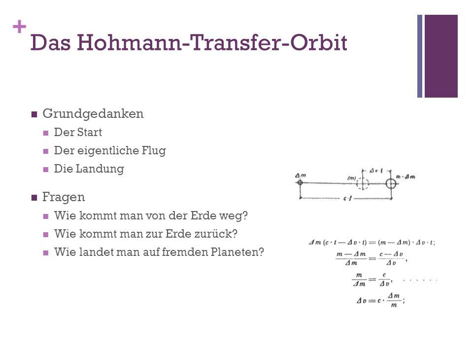 + Das Hohmann-Transfer-Orbit Grundgedanken Der Start Der eigentliche Flug Die Landung Fragen Wie kommt man von der Erde weg? Wie kommt man zur Erde zu
