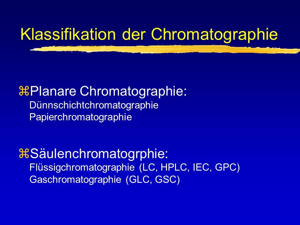 Klassifikation der Chromatographie zPlanare Chromatographie: Dünnschichtchromatographie Papierchromatographie zSäulenchromatogrphie: Flüssigchromatogr