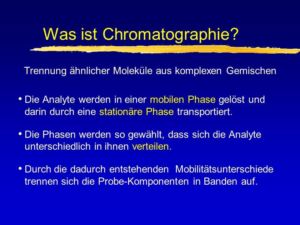 Mechanismen der Trennung 1.Adsorptionsgleichgewicht (feste stationäre Phase, flüßige mobile Phase): z.B.