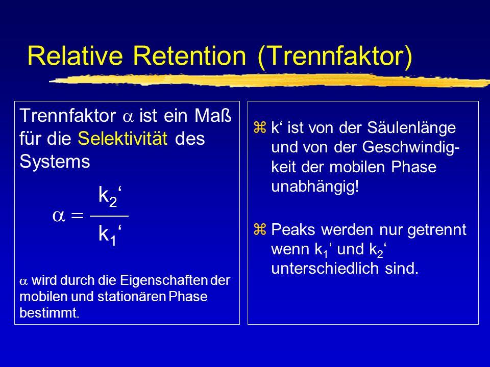 Relative Retention (Trennfaktor) zk' ist von der Säulenlänge und von der Geschwindig- keit der mobilen Phase unabhängig! zPeaks werden nur getrennt we