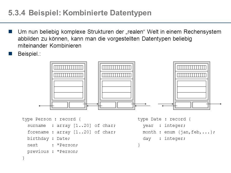 """5.3.4Beispiel: Kombinierte Datentypen Um nun beliebig komplexe Strukturen der """"realen Welt in einem Rechensystem abbilden zu können, kann man die vorgestellten Datentypen beliebig miteinander Kombinieren Beispiel.: type Person : record {type Date : record { surname : array [1..20] of char; year : integer; forename : array [1..20] of char; month : enum {jan,feb,...}; birthday : Date; day : integer; next : *Person;} previous : *Person; }"""