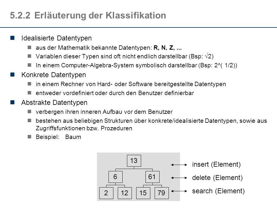 5.2.2Erläuterung der Klassifikation Idealisierte Datentypen aus der Mathematik bekannte Datentypen: R, N, Z,...