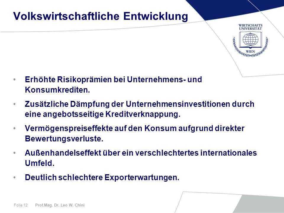 Prof.Mag. Dr. Leo W. ChiniFolie 12 Volkswirtschaftliche Entwicklung Erhöhte Risikoprämien bei Unternehmens- und Konsumkrediten. Zusätzliche Dämpfung d