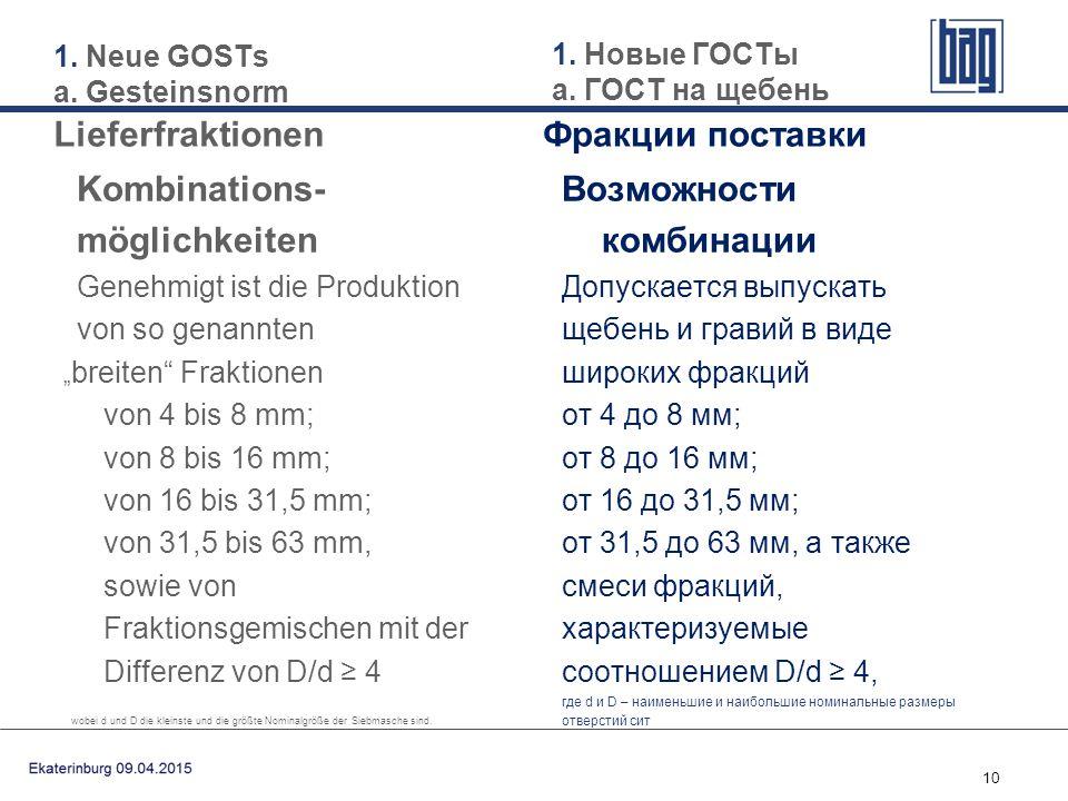 """10 Kombinations- möglichkeiten Genehmigt ist die Produktion von so genannten """" breiten"""" Fraktionen von 4 bis 8 mm; von 8 bis 16 mm; von 16 bis 31,5 mm"""