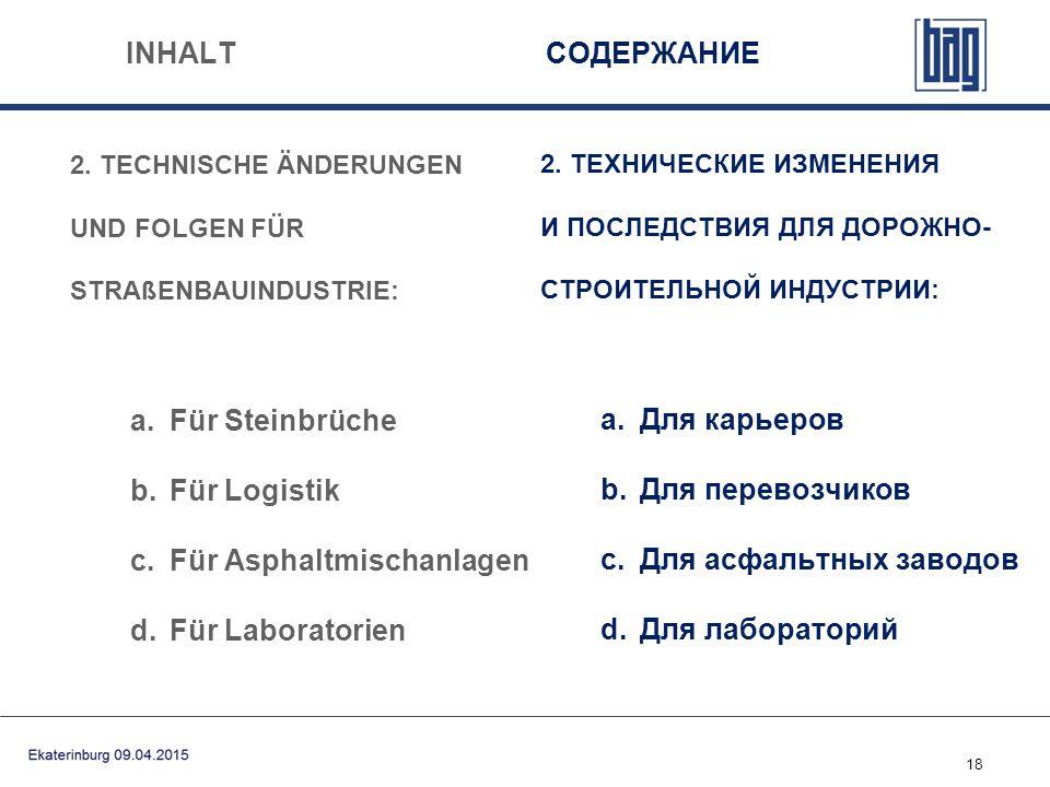 18 INHALT СОДЕРЖАНИЕ 2. TECHNISCHE ÄNDERUNGEN UND FOLGEN FÜR STRAßENBAUINDUSTRIE: a.Für Steinbrüche b.Für Logistik c.Für Asphaltmischanlagen d.Für Lab