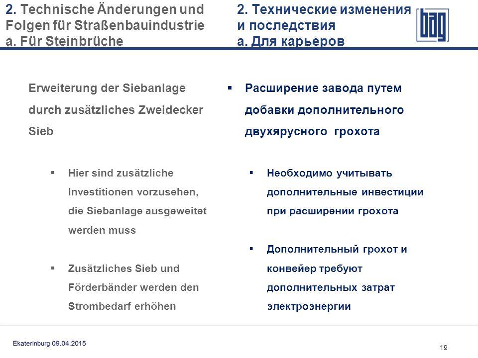 19 2. Technische Änderungen und Folgen für Straßenbauindustrie a. Für Steinbrüche Erweiterung der Siebanlage durch zusätzliches Zweidecker Sieb  Hier