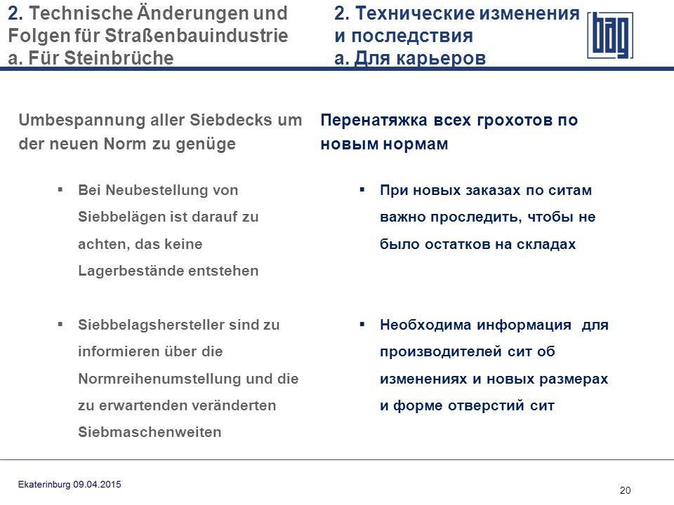 20 Umbespannung aller Siebdecks um der neuen Norm zu genüge  Bei Neubestellung von Siebbelägen ist darauf zu achten, das keine Lagerbestände entstehe