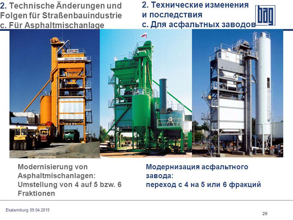 29 Модернизация асфальтного завода: переход с 4 на 5 или 6 фракций Modernisierung von Asphaltmischanlagen: Umstellung von 4 auf 5 bzw. 6 Fraktionen Ek