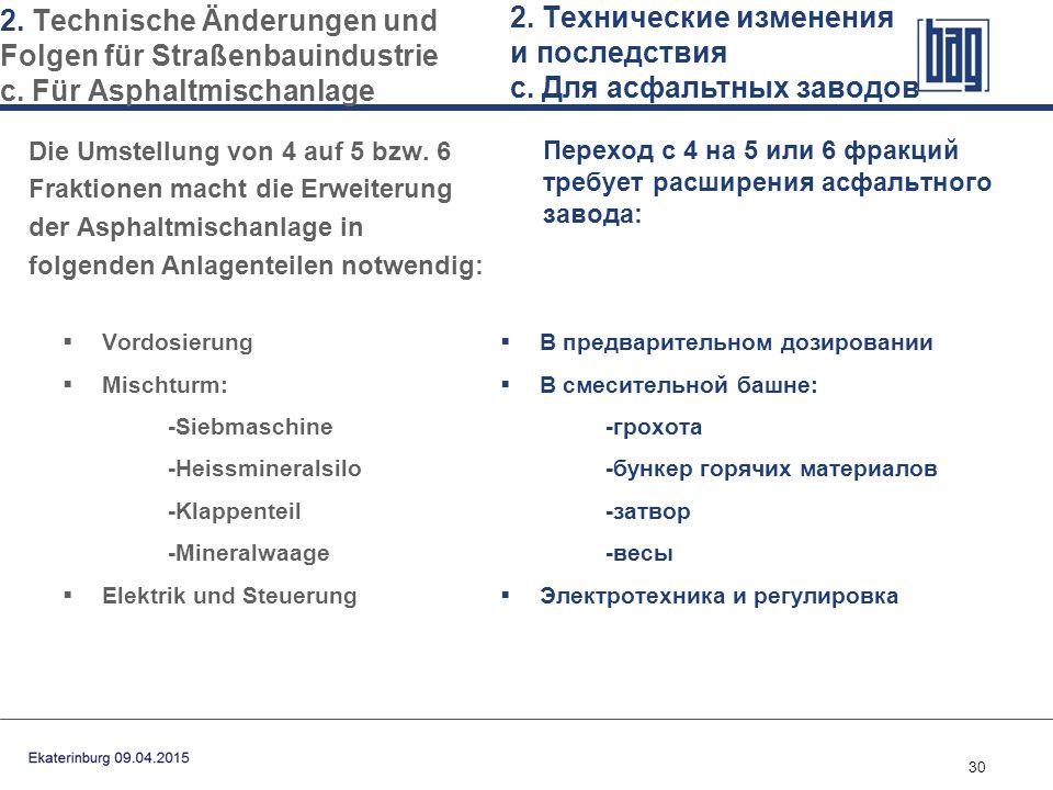 30  Vordosierung  Mischturm: -Siebmaschine -Heissmineralsilo -Klappenteil -Mineralwaage  Elektrik und Steuerung  В предварительном дозировании  В