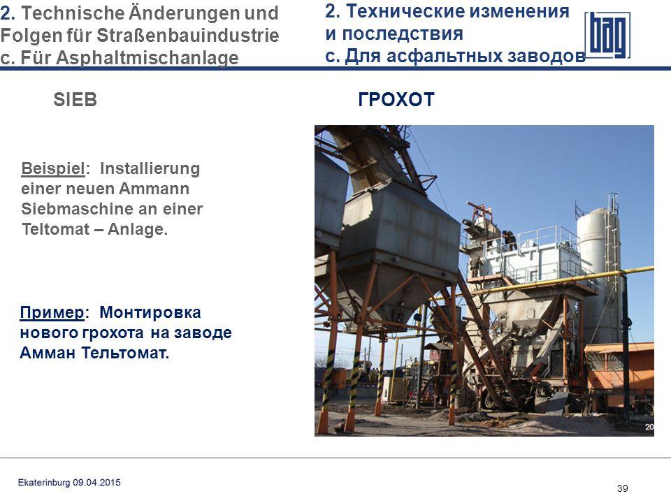 39 Beispiel: Installierung einer neuen Ammann Siebmaschine an einer Teltomat – Anlage. 2. Technische Änderungen und Folgen für Straßenbauindustrie с.