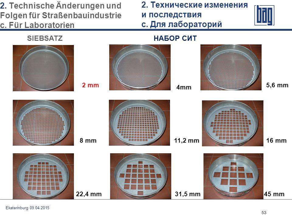 53 SIEBSATZ НАБОР СИТ 4mm 5,6 mm 8 mm 11,2 mm16 mm 22,4 mm 31,5 mm45 mm Ekaterinburg 09.04.2015 2. Technische Änderungen und Folgen für Straßenbauindu