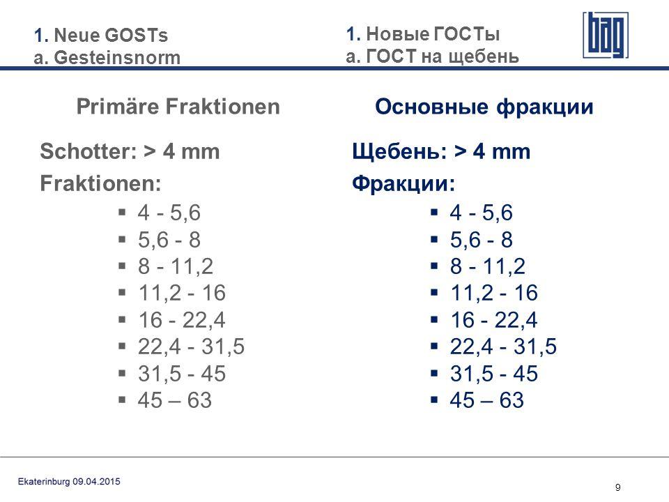 9 Schotter: > 4 mm Fraktionen:  4 - 5,6  5,6 - 8  8 - 11,2  11,2 - 16  16 - 22,4  22,4 - 31,5  31,5 - 45  45 – 63 Щебень: > 4 mm Фракции:  4