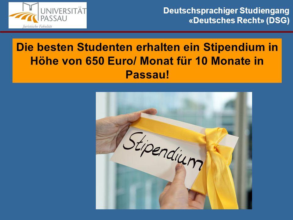 Deutschsprachiger Studiengang «Deutsches Recht» (DSG) Die besten Studenten erhalten ein Stipendium in Höhe von 650 Euro/ Monat für 10 Monate in Passau!