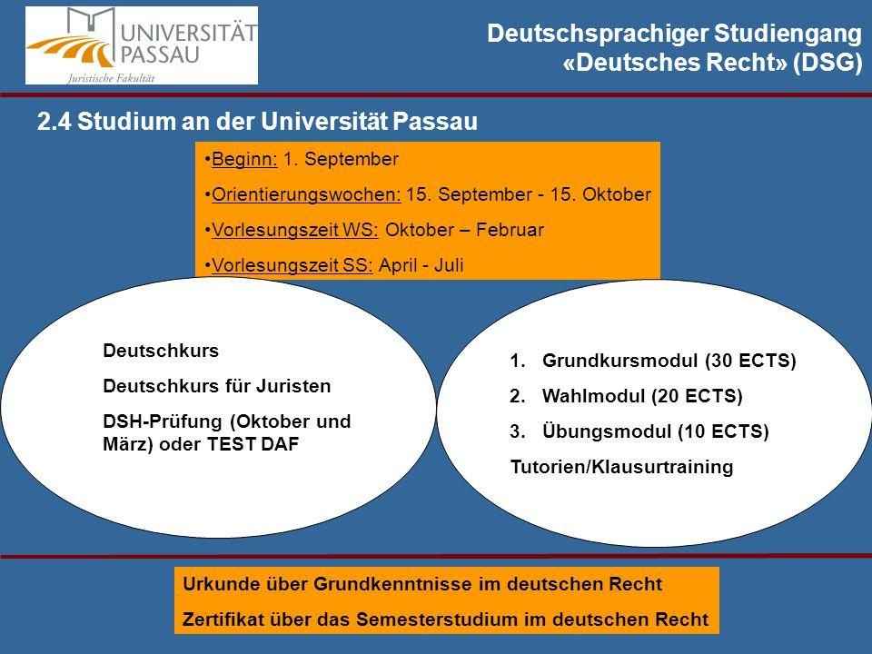 Deutschsprachiger Studiengang «Deutsches Recht» (DSG) 2.4 Studium an der Universität Passau Beginn: 1.