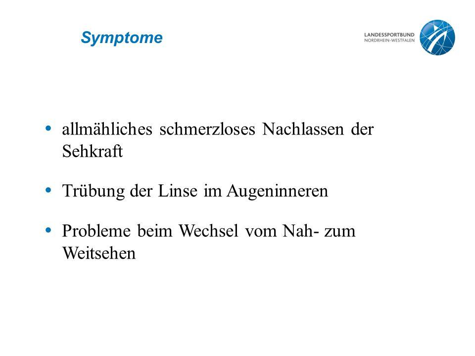 Symptome  allmähliches schmerzloses Nachlassen der Sehkraft  Trübung der Linse im Augeninneren  Probleme beim Wechsel vom Nah- zum Weitsehen